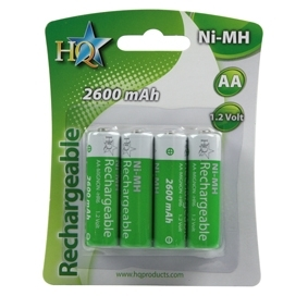 Lot de 4 Batteries Rechargeables Type AA R6 NIMH HQ 1.2V 2600 mA (4pcs / 1bl)