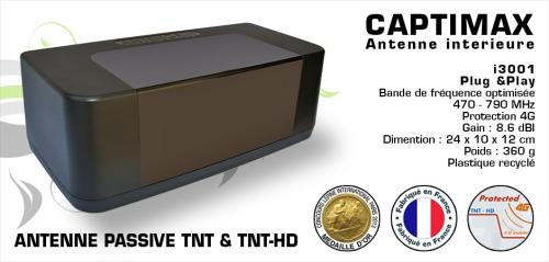 Antenne d\' Intérieur passive TNT HD écologique - Captimax