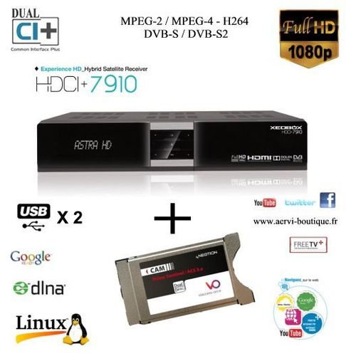 Terminal Satellite HD  Xeobox HDCI 7910 avec Cam Viaccess Dual