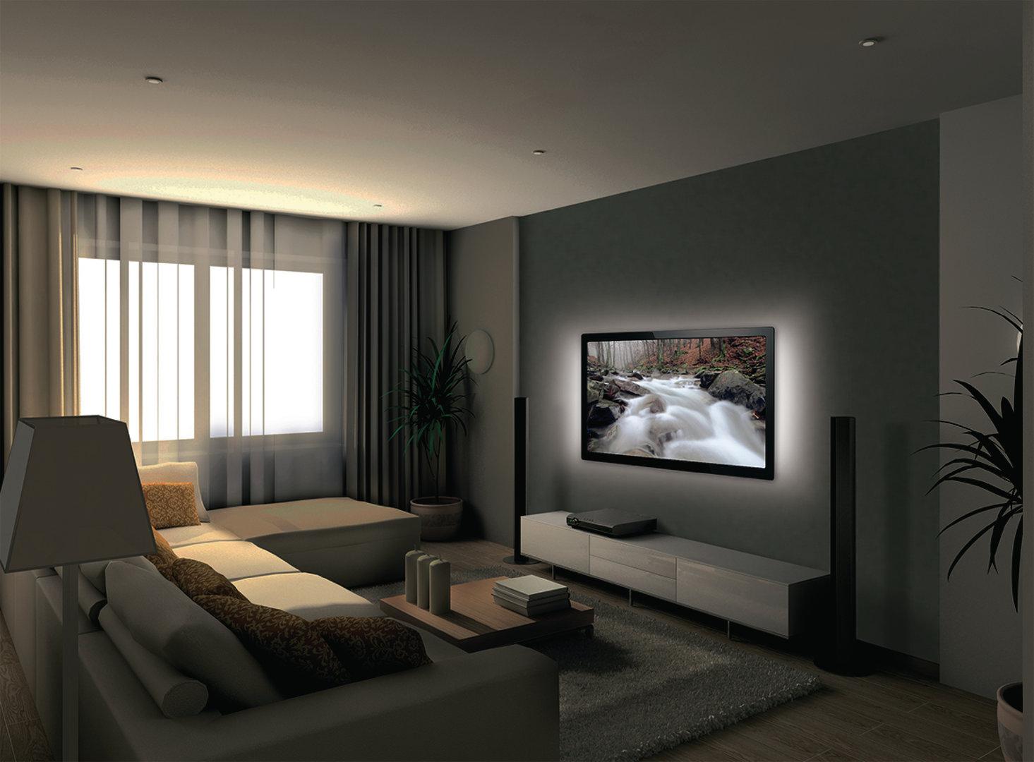 bande led lumineuse pour tv led 192 lm 1800 mm blanc froid. Black Bedroom Furniture Sets. Home Design Ideas