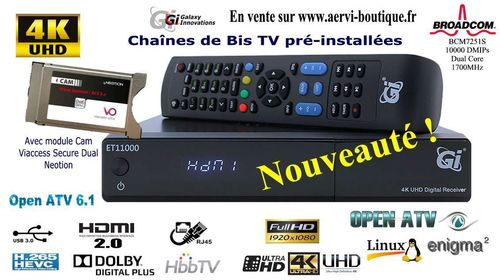 GI ET11000 Récepteur Satellite 4K + Viaccess + Abonnement 1 an Bis TV PANORAMA via Hotbird Open ATV