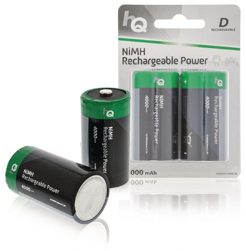 Lot de 2 Batteries Rechargeables NiMH D 1.2 V 4000 mAh HQ