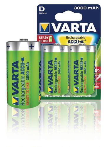 Lot de 2 Batteries Rechargeables NiMH D 1.2 V 3000 mAh VARTA