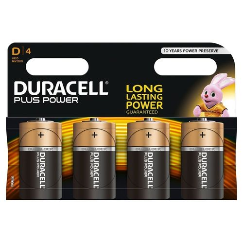 Lot de 4 Piles Alcalines type D - Duracell Plus Power