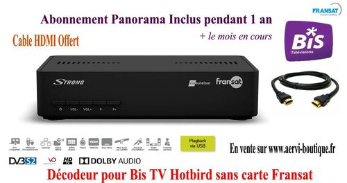 Pack décodeur Bis TV Strong SRT7407 HD avec Bis TV Panorama 1 an